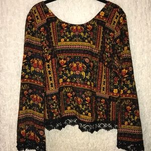 Printed Long Sleeve with Crochet Trim